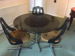 kitchen table with swivel chairs retro vintage round smoked glass dining table swivel chairs 1960 s