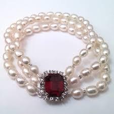 pearl bracelet clasps images 3 row pearl bracelet with swarovski crystal clasp jpg