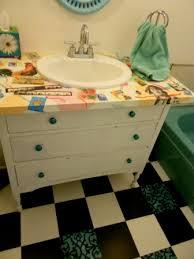 Ikea Hack Bathroom Vanity by White Desk Top Piece Transformed Into My Bathroom Vanity Top