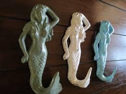 themed wall hooks mermaid hook set white green and aqua blue or