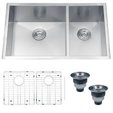 Modern Kitchen Sinks by Ruvati Rvh7515 Undermount 16 Gauge Kitchen Sink Double Bowl 32