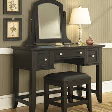 Wood Vanity Table Retro Black Painted Mahogany Wood Dressing Table With White Shade