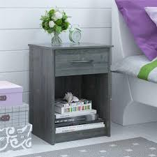 Dark Grey Nightstand Mainstays 1 Drawer Nightstand End Table Dark Gray Oak Walmart Com