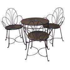 Oval Wrought Iron Patio Table Four Piece Wrought Iron Patio Set Attributed To Mathieu Mategot At
