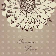 seamless vintage ornament with sunflower vector clipart image