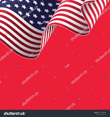 Waving American Flag Waving American Flag On Red Background Stock Vector 1013445580