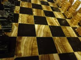 vintage hand carved marble u0026 onyx chess set game board u0026 pieces