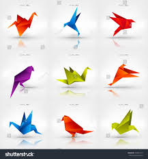 bird figures origami paper birdvector illustrationpolygonal shape paper stock