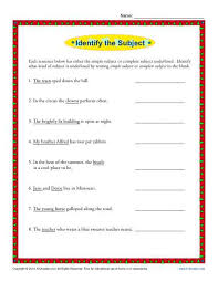 simple subject and complete subject worksheet activity k12reader