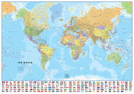 World Map Pins by World U0026 Usa Laminated Wall Map With Flags Poster Set