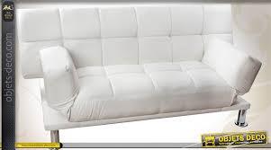 canapé 180 cm canapé clic clac en similicuir blanc style rétro design 180 cm