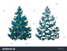 vector illustration decorated christmas tree snow stock vector