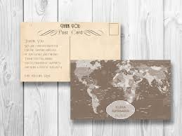 retro thank you postcard world map wedding thank you card