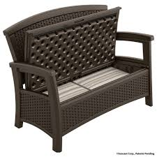 furniture interesting black wicker outdoor storage bench with