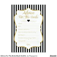 advice for the bride black gold bridal shower game card gold
