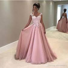 2017 pink applique long evening prom dresses elegant vestido de