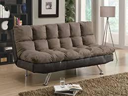Futon Sofa Bed Amazon Amazon Com Futon Sofa Bed With Chrome Legs In Two Tone Finish