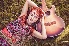 hippie style romantic girl and her guitar summer hippie style stock image