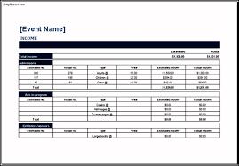 Event Budget Template Excel Sle Event Budget Templates Excel Templatezet