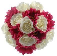 gerbera bouquet ivory roses cerise pink gerbera bridesmaids bouquet s flowers
