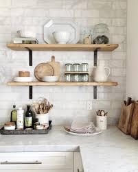 decorating ideas for kitchen shelves gorgeous open shelving with marble subway tiles modern farmhouse