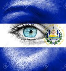 Flag El Salvador Woman Face Painted With Flag Of El Salvador Stock Photo Picture