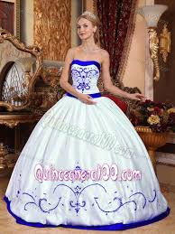 quinceanera dresses white white and royal blue quinceanera dresses with embroidery