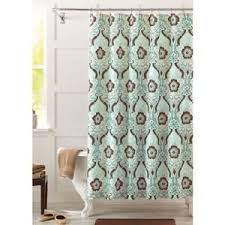 Cloth Shower Curtains Amazon Com Seafoam Green And Brown Newcastle Fabric Shower