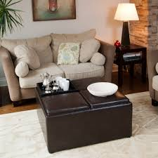 How To Make A Coffee Table Ottoman Cube Dark Brown Leather Ottoman With Storage On The Top Placed On