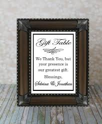 wedding gift table sign wedding gift sign reception table sign thank you sign from