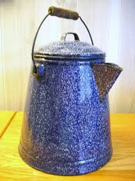 Blue graniteware coffee pot I ve used mine for everything but
