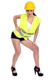 Construction Worker Costume Brunette In Construction Worker Royalty Free Stock Photo
