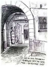 a rough pencil sketch of an allyway on the royal mile edinburgh