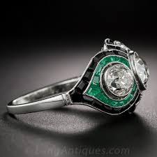 art deco style diamond emerald and onyx ring