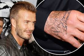 david beckham tattoos z lyrics on his after being spotted