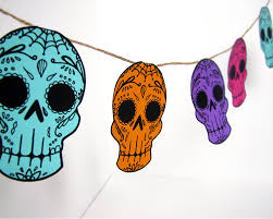day of the dead decorations printable sugar skull garland diy decor day of the dead