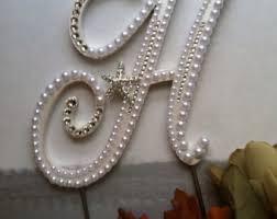 h cake topper pearl monogram cake topper custom letter h