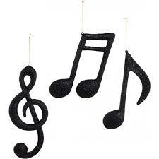 Musical Note Ornaments 12 Black Glitter Note Ornaments Assortment Set Of 3
