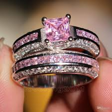diamond wedding ring sets wieck princess cut pink sapphire simulated diamond 10kt