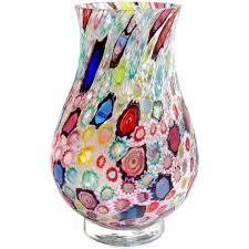 Star Vase Fratelli Toso Murano Millefiori Flower Star Mosaic Italian Art