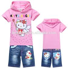 kitty short sleeve hoodies jeans kids suitss babys