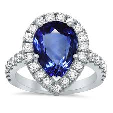 engagement ring sapphire pave halo engagement ring with pear sapphire