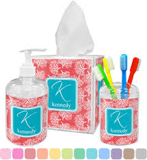 Coral U0026 Teal Bathroom Accessories Set Personalized Potty