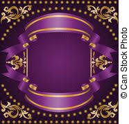 vector clipart of purple ornament with gold ribbons purple