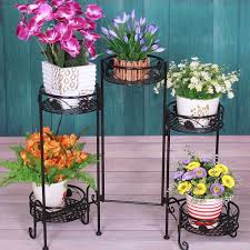 folding 5 tier metal plant planter flower pot stand indoor outdoor