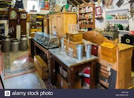 interior of a rural antique shop with a collection of old country