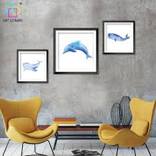 dolphin home decor aliexpress com buy nordic decoration blue whale dolphins canvas