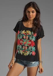 ella moss ella moss tropadelic floral top in black for women dawoob women