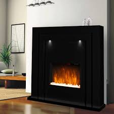 electric fire fireplace surround free standing black gloss led