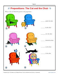 prepositions the cat and the chair prepositional phrase worksheets